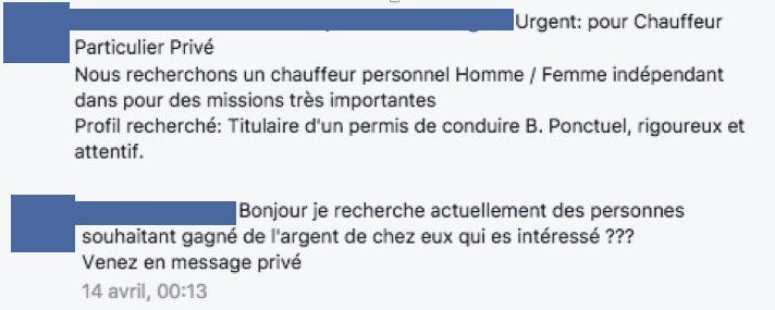 Capture d'écran d'arnaque sur Facebook