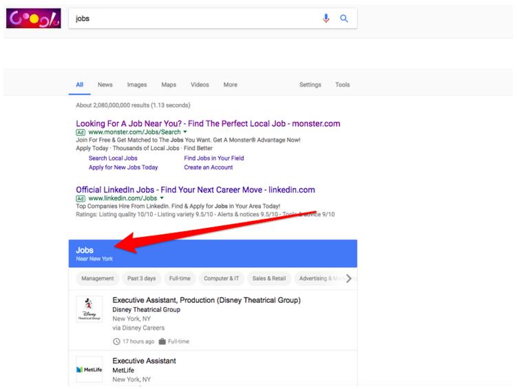 Google for job : des offres d'emplois directement dans les résultats de recherche