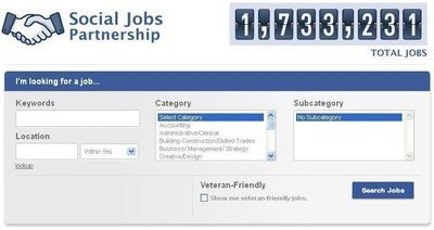 Capture d'écran de la page Social Job Partnership de Facebook