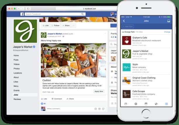 Facebook propose un onglet job dans les pages