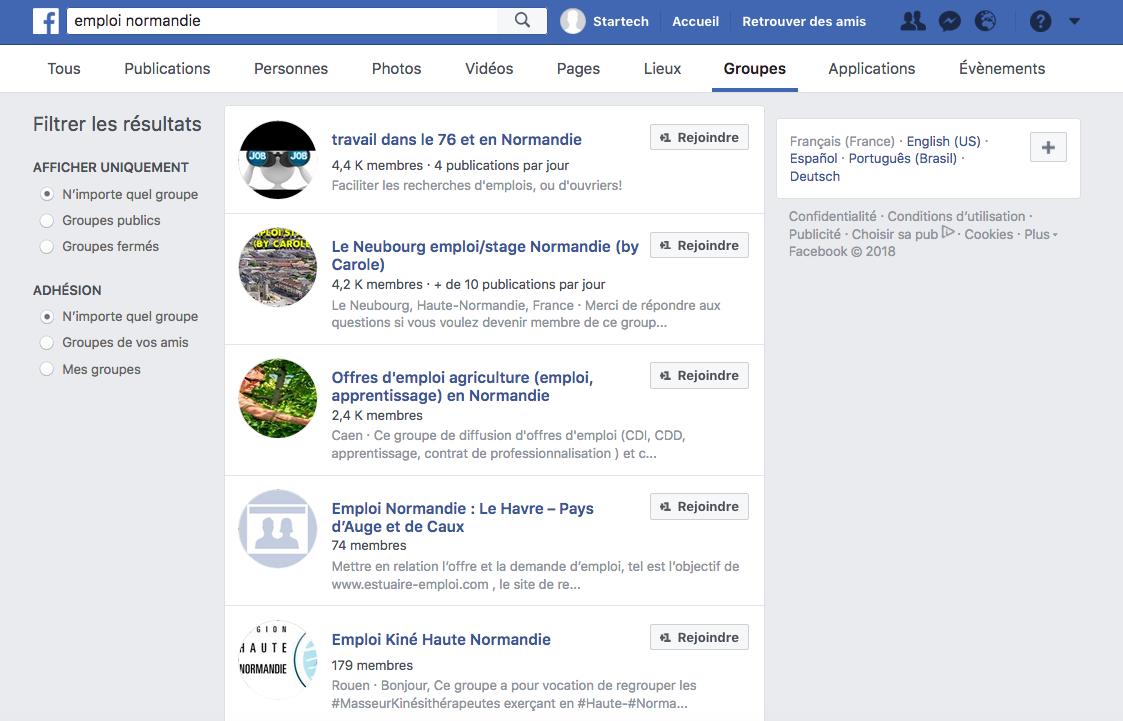 Exemples de groupes Facebook autour de l'emploi